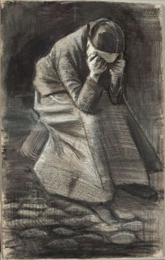 Vincent van Gogh Weeping Woman Black and white chalk with brush and stumping brush and black and grey wash and traces of graphite over a brush and brown ink underdrawing on ivory wove paper.